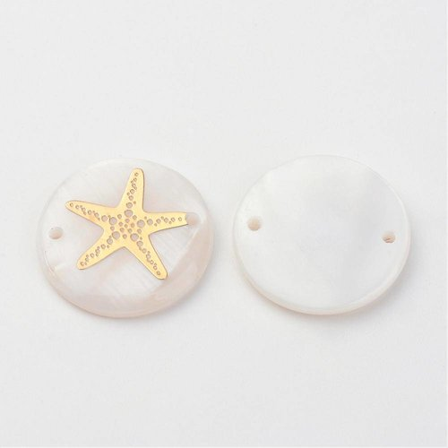 3 pieces Shell Link with Golden Starfish 20mm