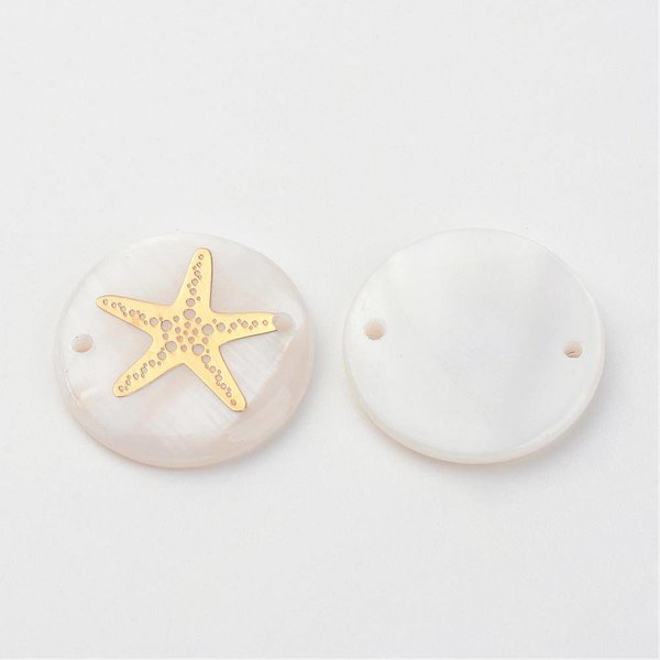 Shell Link with Golden Starfish 20mm, 3 pieces