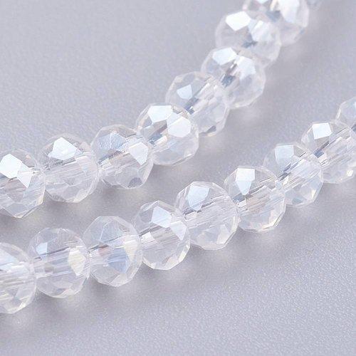 40 stuks Facet Glaskralen Shine 4x3mm