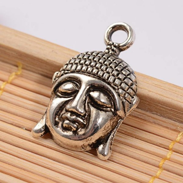 4 pieces Buddha Silver Charm 22x14mm