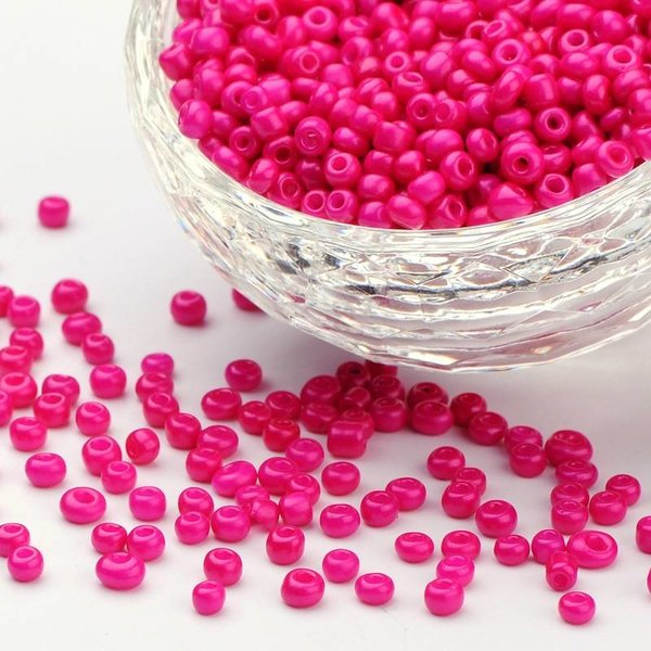 Seed Beads Fuchsia Pink 2mm, 7 grams