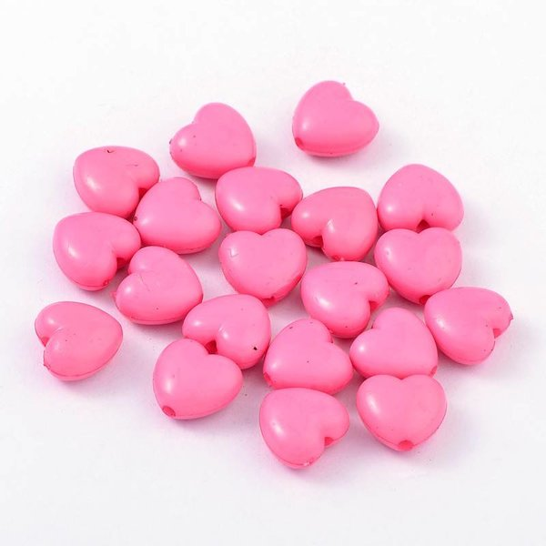 10 pcs Acrylic Beads Pink Heart