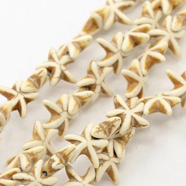 5 pieces Starfish Bead Beige 15mm