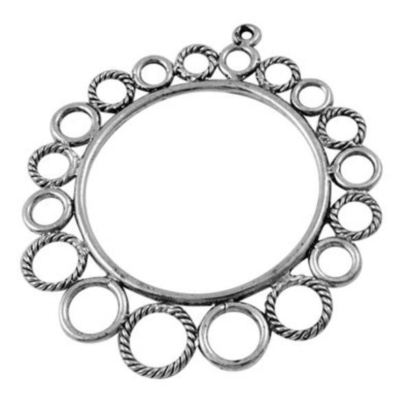 Tibetan Charm Silver Round 49x43mm Nickel Free