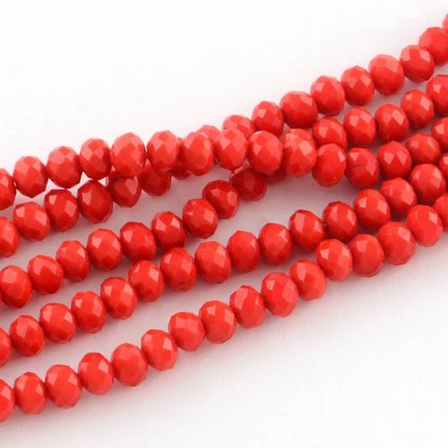 40 pieces Facet Bead Red 4x3mm