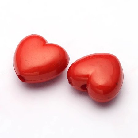 10 Pcs Acrylic Bead Red Heart