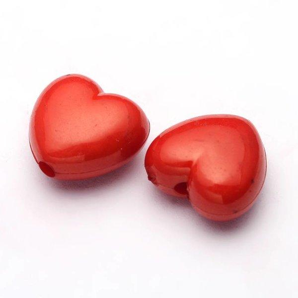 Acryl kralen rood hart 10x11mm, 10 stuks