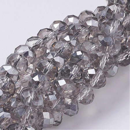 30 pieces Faceted Beads Gray 8x6mm