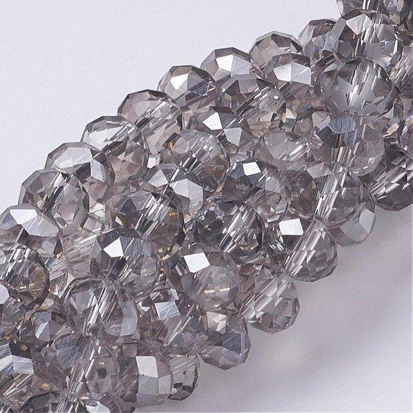 Facet Glaskralen Grijs Shine 8x6mm, 10 stuks
