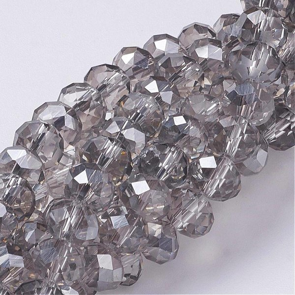 Faceted Beads 8x6mm Gray, 10 pieces
