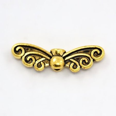 6 pieces Gold Wing Beads 22x6mm