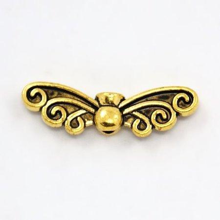 6 stuks Vleugel Kralen Goud 22x6mm