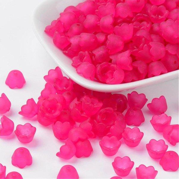 Fuchsia Pink Flower Beads 10x6mm, 10 pieces