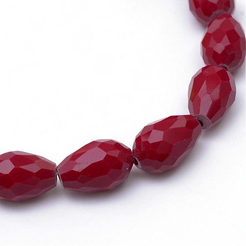 Faceted Drop Glassbeads Wine Red 11x8mm, 10 pieces