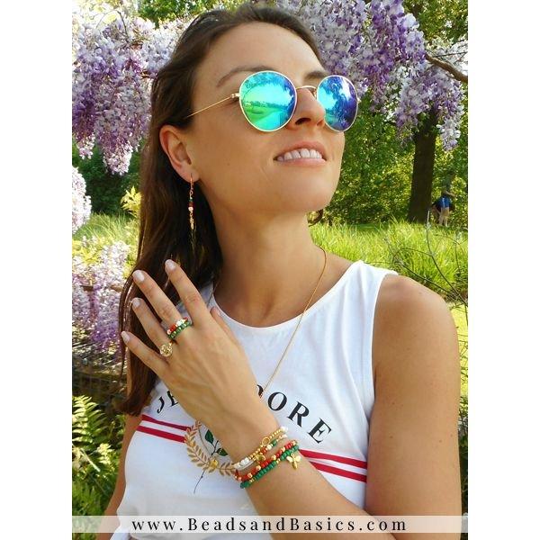 Gucci Inspired Armbanden Setje Met Ringen - Groen Rood Met Goud