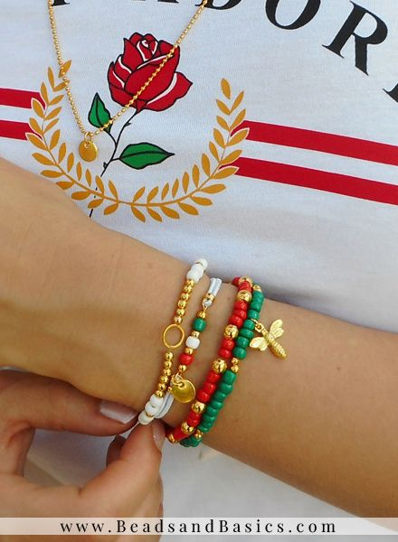 fd495d27c Gucci Inspired It Girl Bracelet Set With Matching Rings - Green With Red  And Gold