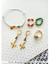Gucci Inspired It Girl Bracelet Set With Matching Rings - Green With Red And Gold