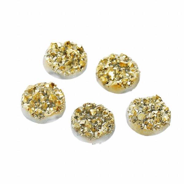 Druzy Glitter Cabochon Goud 12mm, 5 stuks