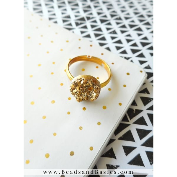Druzy Glitter Cabochon Gold 12mm, 5 pieces