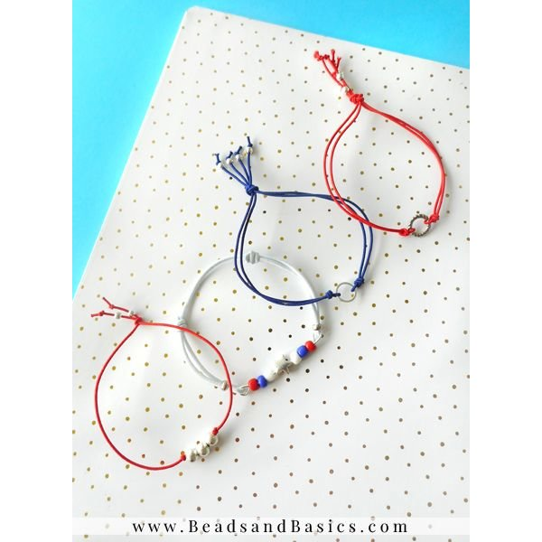 Tommy Girl Inspired Necklace And Bracelet Set - Blue Red With White