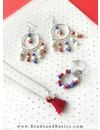 Tommy Girl Inspired Earrings With Star Beads - Blue Red With White