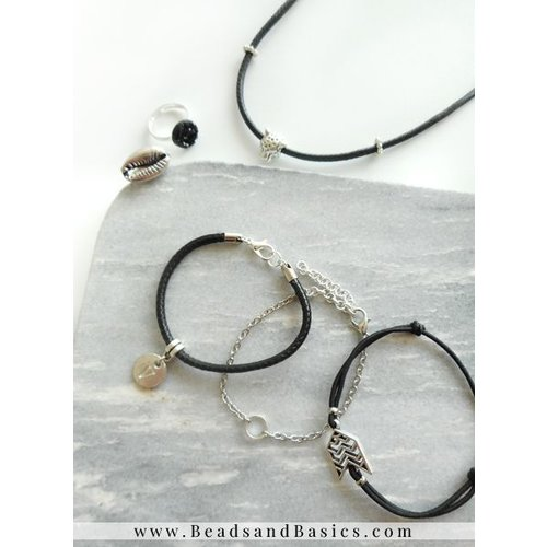 Panter Choker Ketting Met Bijpassende Armbandjes - Zilver Met Zwart