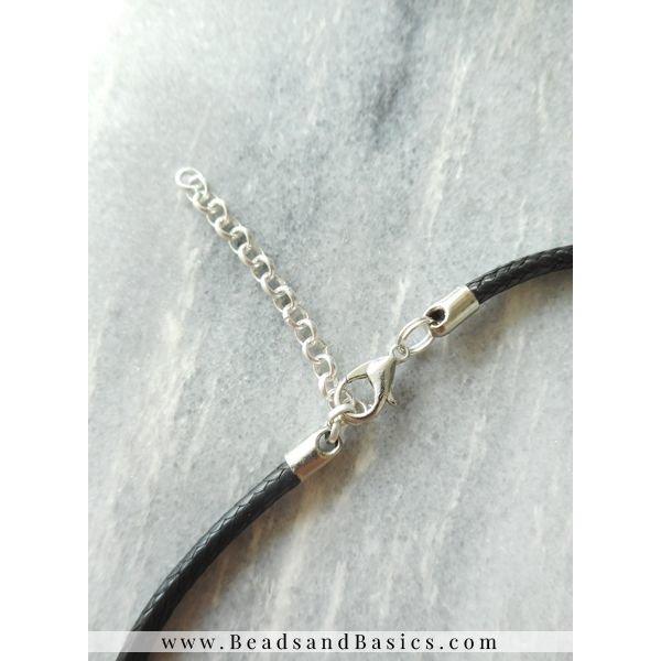 Panter Choker Ketting Met Bijpassende Armbandjes Met Inital Bedel  - Zilver Met Zwart