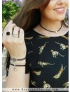 Leopard Choker Necklace With Matching Bracelets - Black And Silver