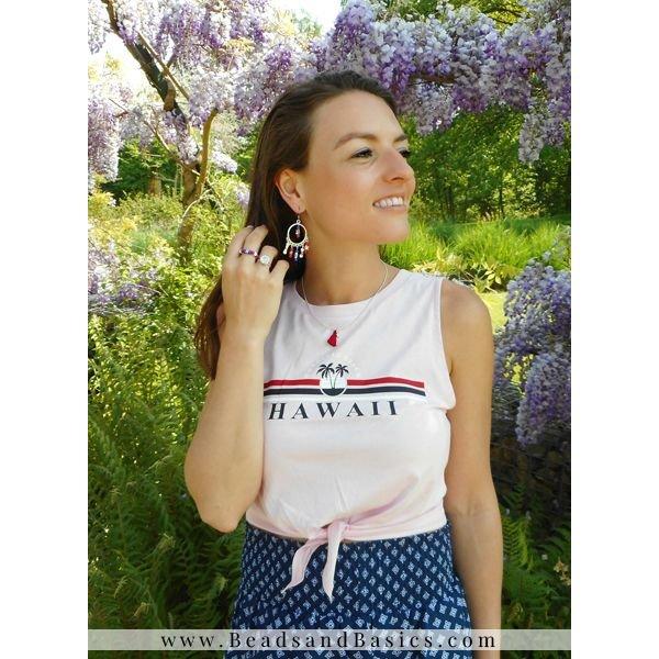 Tommy Girl Inspired Musthave Oorbellen Met Ster Kralen - Blauw Rood Met Wit