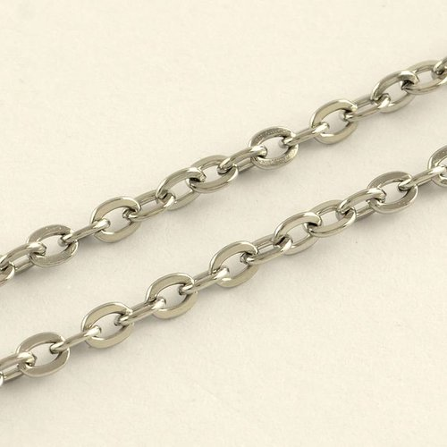 Stainless Steel Chain Silver 4x3mm, 1 meter