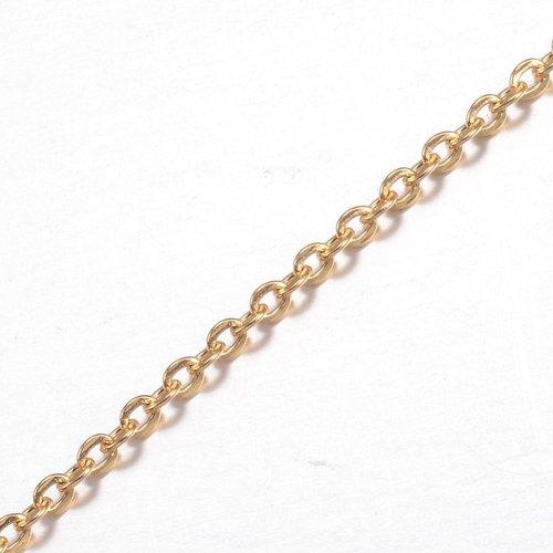 Stainless Steel Schakel Ketting Goud 2x2.5mm, 1 meter