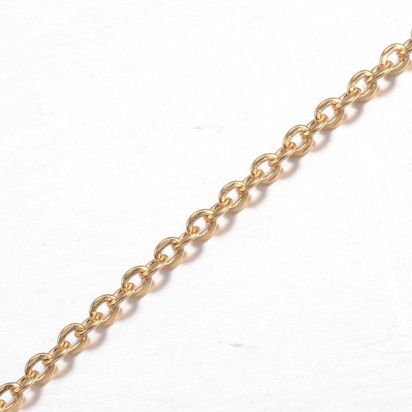 Stainless Steel Jasseron Ketting Goud 2x2.5mm, 1 meter