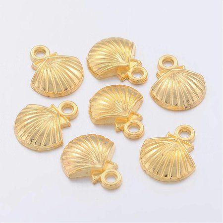 10 pieces Shell Charm Gold 12x14mm