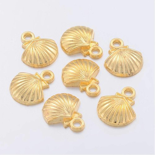 Shell Charm Gold 12x14mm, 10 pieces