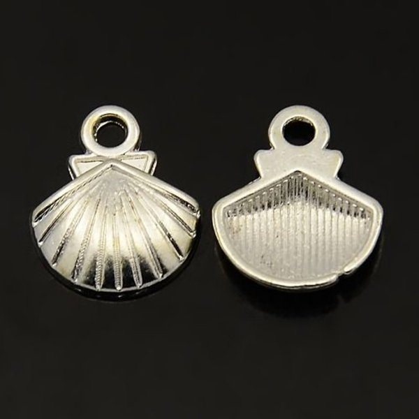 Shell Charm Silver 12x14mm, 10 pieces