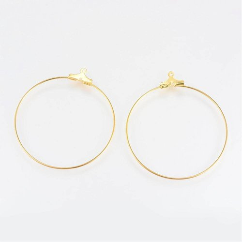 Earring Wire Pendants Gold 25mm, 4 pieces
