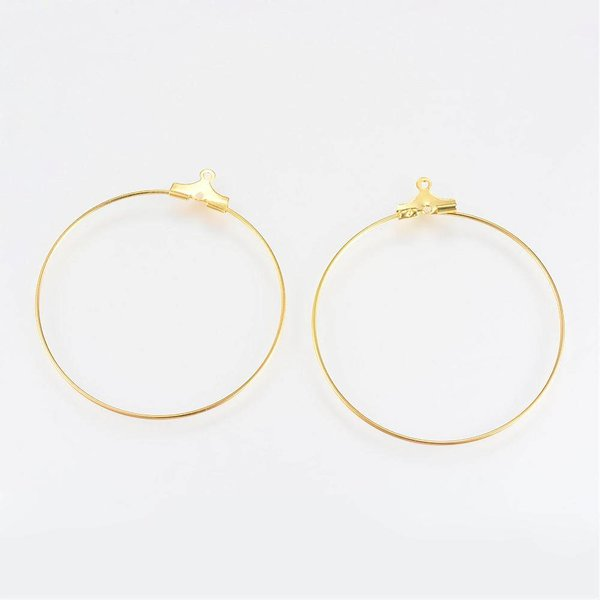 Earring Wire Pendants Gold 30mm, 4 pieces