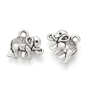 Elephant Charm Silver 12x14mm, 6 pieces