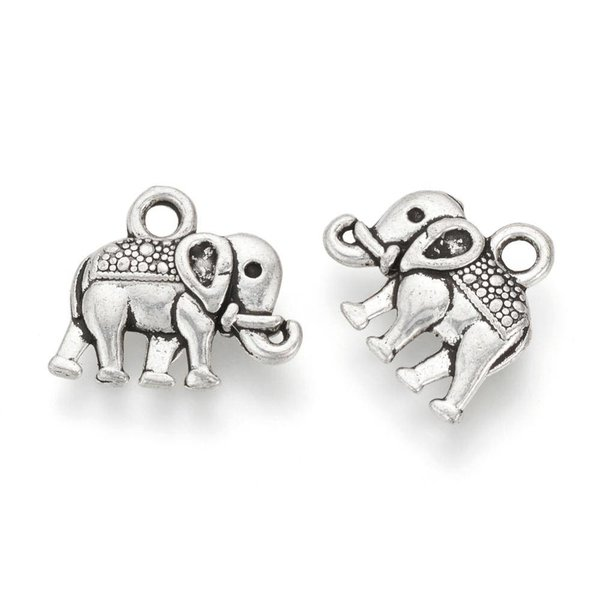 Elephant Charm Silver 12x14mm, 6 pieces