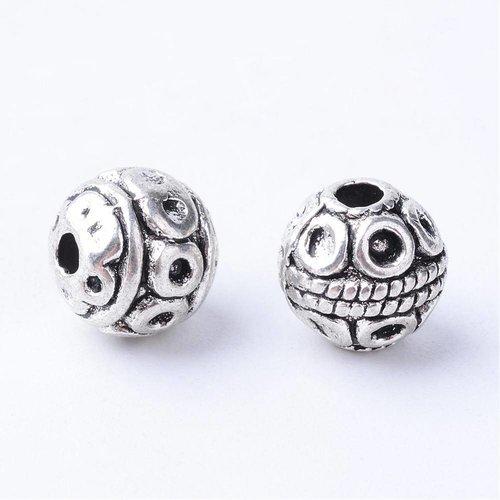 Tibetaanse Spacer Beads Zilver 8mm, 10 stuks