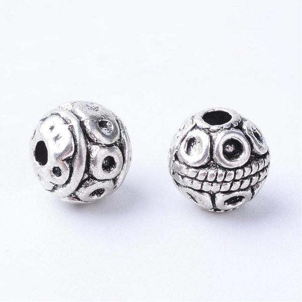 Tibetan Spacer Beads Silver 8mm, 10 pieces
