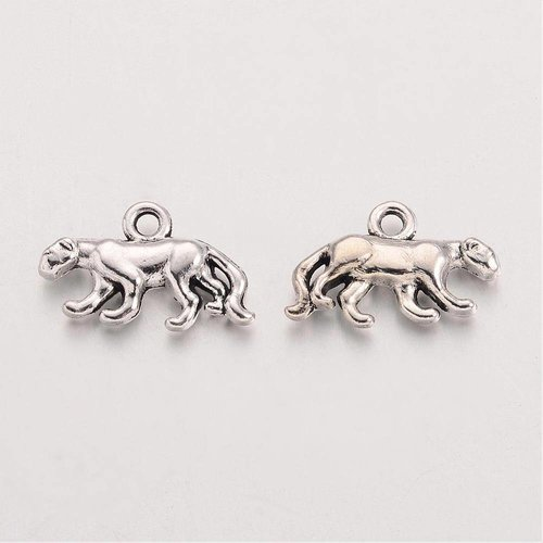 Leopard Charm Silver 11x18mm, 6 pieces