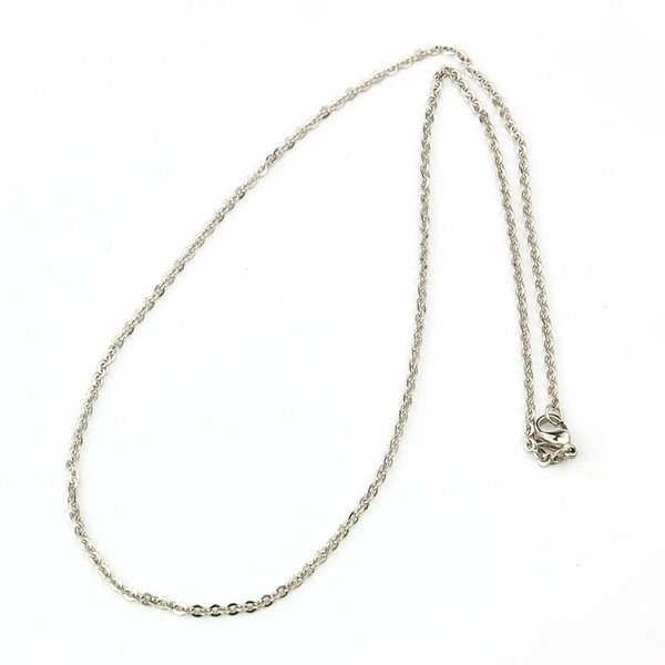Stainless Steel Necklace 2mm Silver 38cm