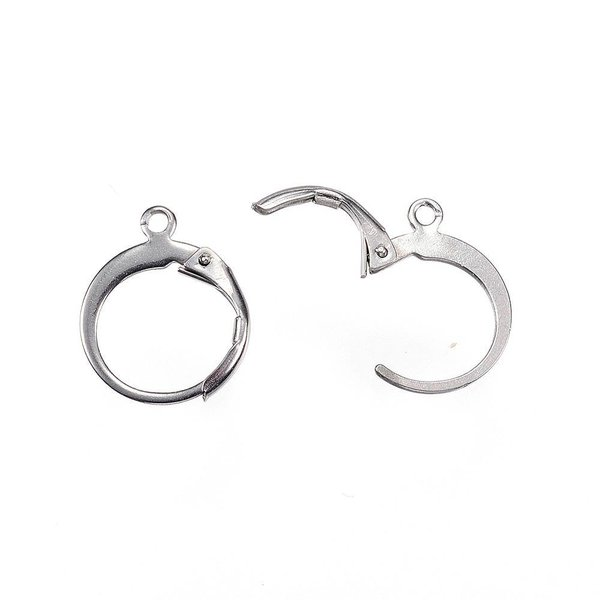 Stainless Steel Hoop Earrings 12x15mm, 4 pieces