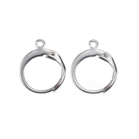 Stainless Steel Hoop Earrings Silver 12x15mm, 4 pieces