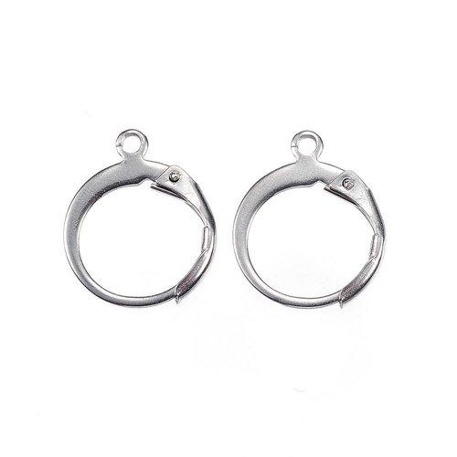 Stainless Steel Hoop Earrings Silver 12x15mm, 2 pieces