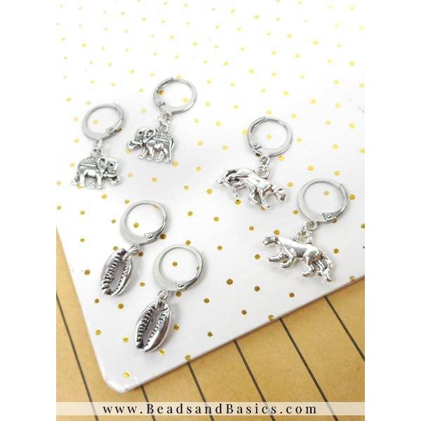 Stainless Steel Hoop Earrings 12x15mm, 4 pieces