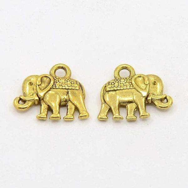 Elephant Charm Gold 12x14mm Nickelfree, 5 pieces