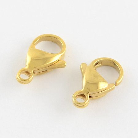 Stainless Steel Clasp Gold 12mm, 5 pieces