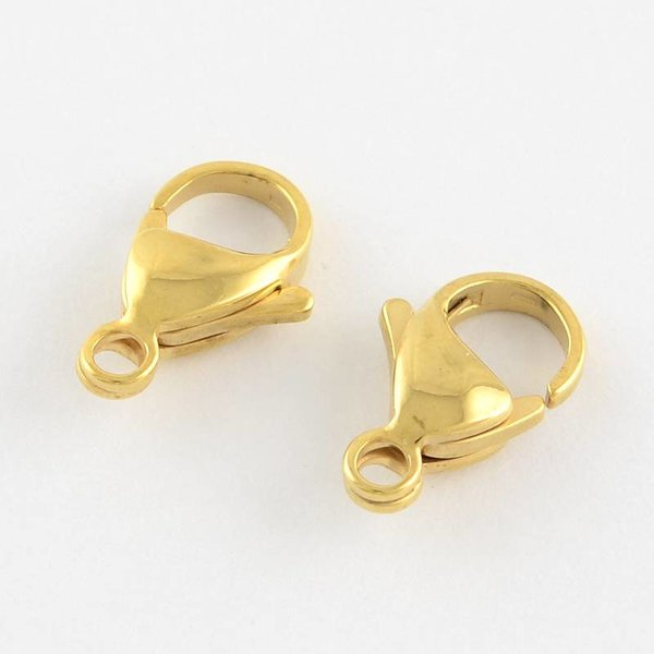 Stainless Steel Lobster Clasp Gold 12mm, 4 pieces